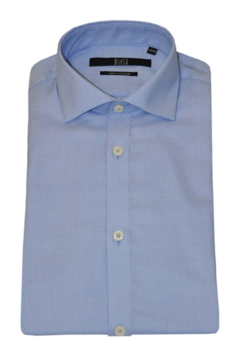Μπλε βαμβακερό μακρυμάνικο πουκάμισο MARCUS