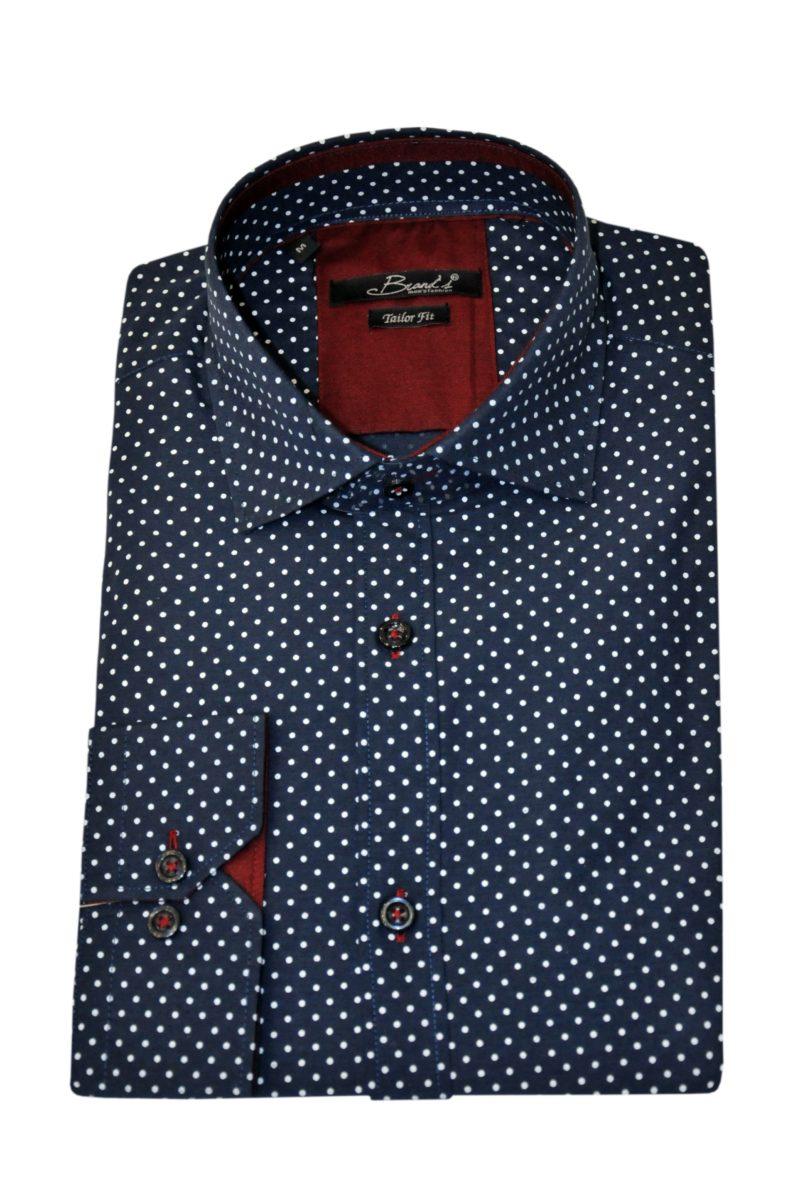 Μπλε εμπριμέ βαμβακερό μακρυμάνικο πουκάμισο BRAND'S