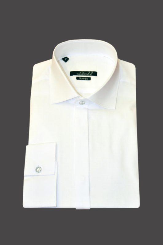 Λευκό βαμβακερό μακρυμάνικο πουκάμισο BRAND'S