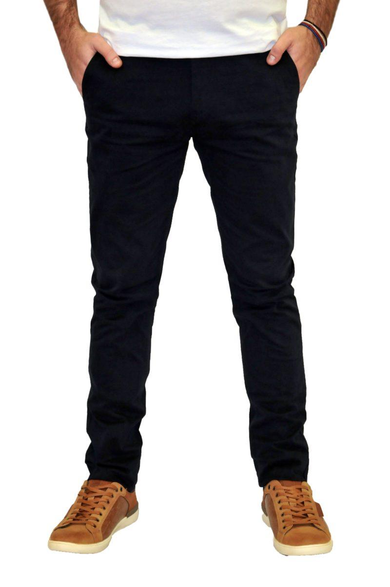 Μπλε σκούρο καλοκαιρινό βαμβακερό παντελόνι PRE END