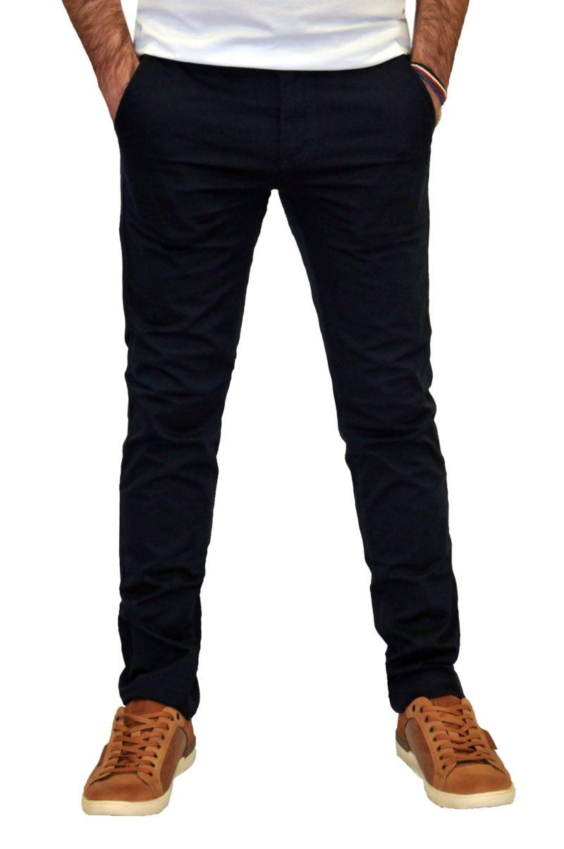 Μπλε σκούρο καλοκαιρινό βαμβακερό παντελόνι BATTERY