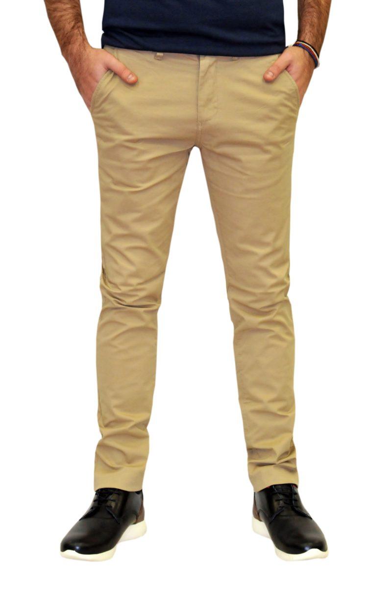 Μπεζ καλοκαιρινό βαμβακερό παντελόνι BATTERY