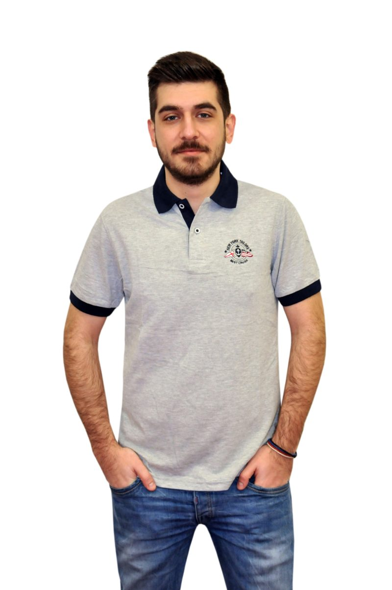 2c452750dae2 Γκρι κοντομάνικη βαμβακερή μπλούζα NEW YORK TAILORS