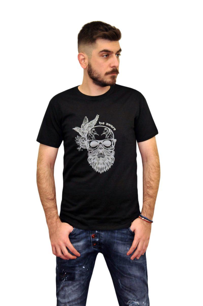 e90a2ef1bb24 Μαύρο βαμβακερό κοντομάνικο μπλουζάκι GREENWOOD