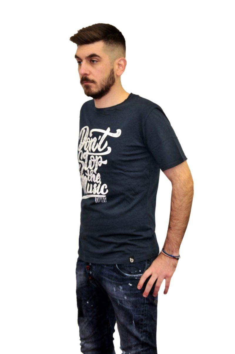 Μπλε σκούρο καλοκαιρινο βαμβακερό κοντομάνικο μπλουζάκι GREENWOOD