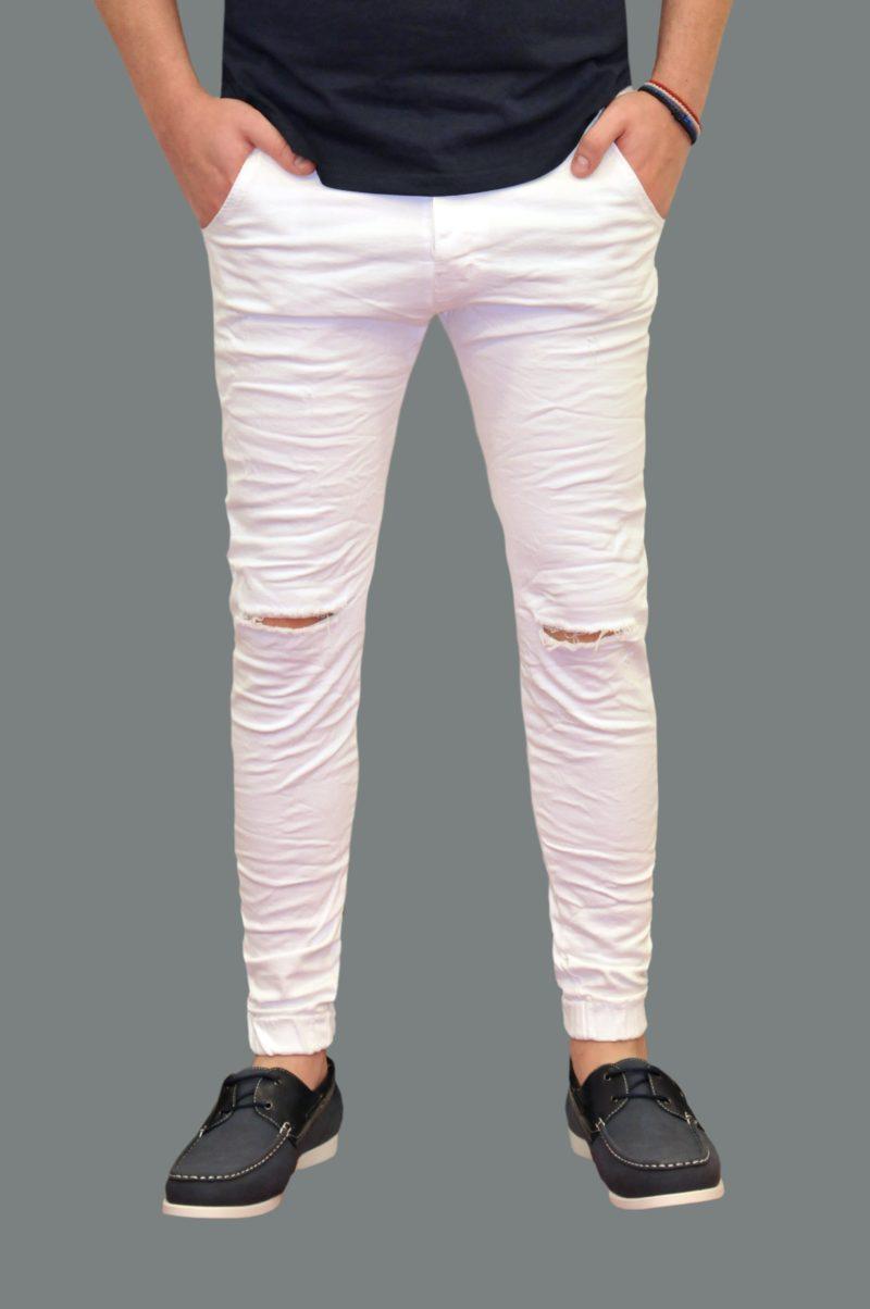Λευκό βαμβακερό καλοκαιρινό παντελόνι DAMAGED