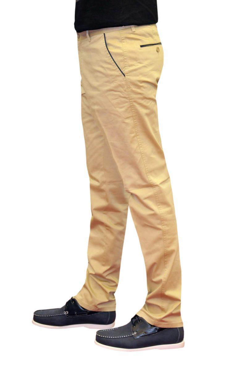 Μπεζ καλοκαιρινό βαμβακερό παντελόνι NEW YORK TAILORS