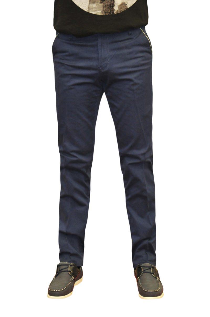 Μπλε σκούρο καλοκαιρινό βαμβακερό παντελόνι NEW YORK TAILORS