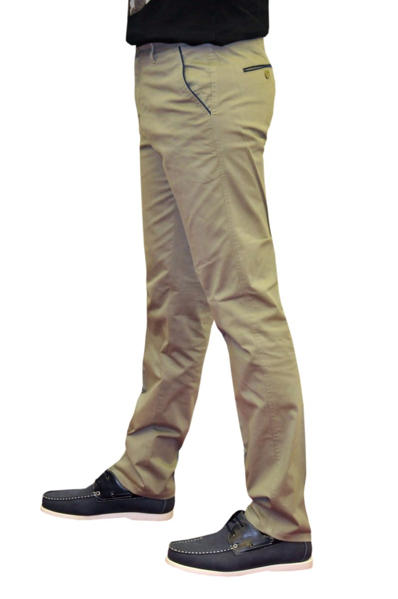 Χακί καλοκαιρινό βαμβακερό παντελόνι NEW YORK TAILORS