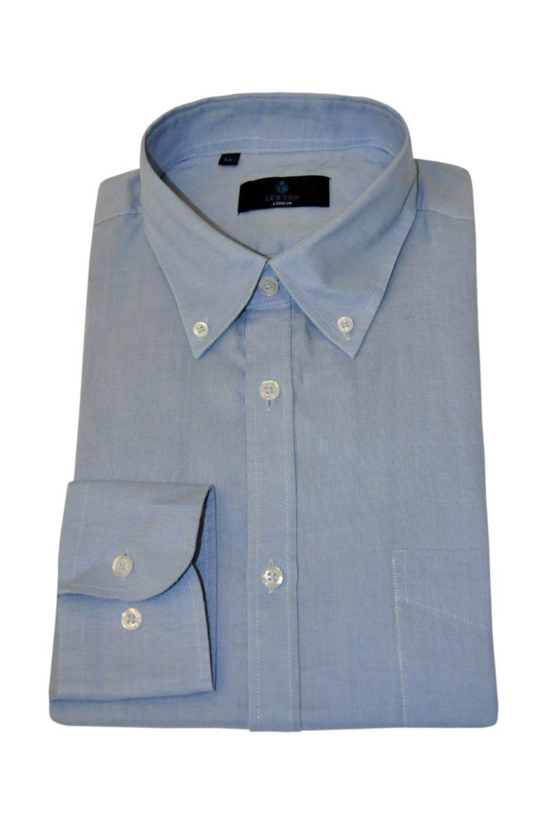 Σιέλ λινό μακρυμάνικο πουκάμισο LEXTON