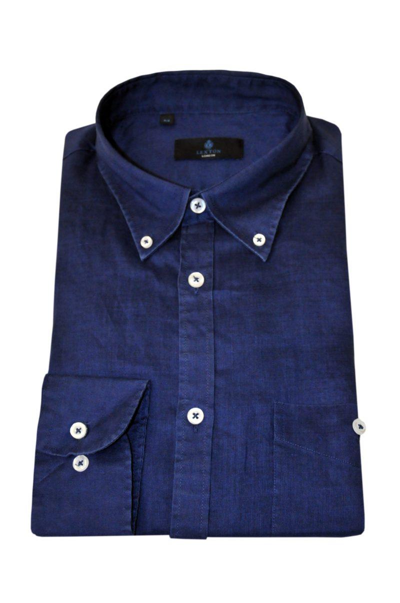 Μπλε σκούρο λινό μακρυμάνικο πουκάμισο LEXTON