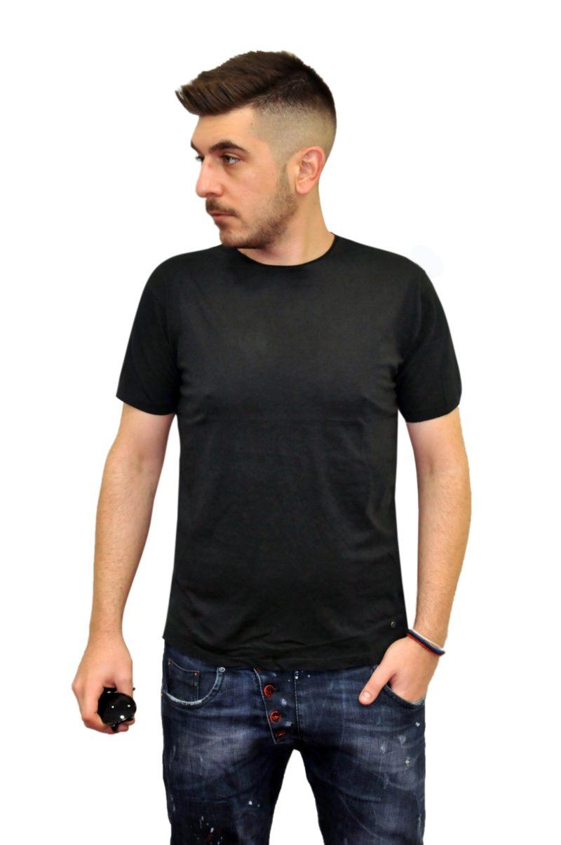 Μαύρο βαμβακερό κοντομάνικο μπλουζάκι BATTERY