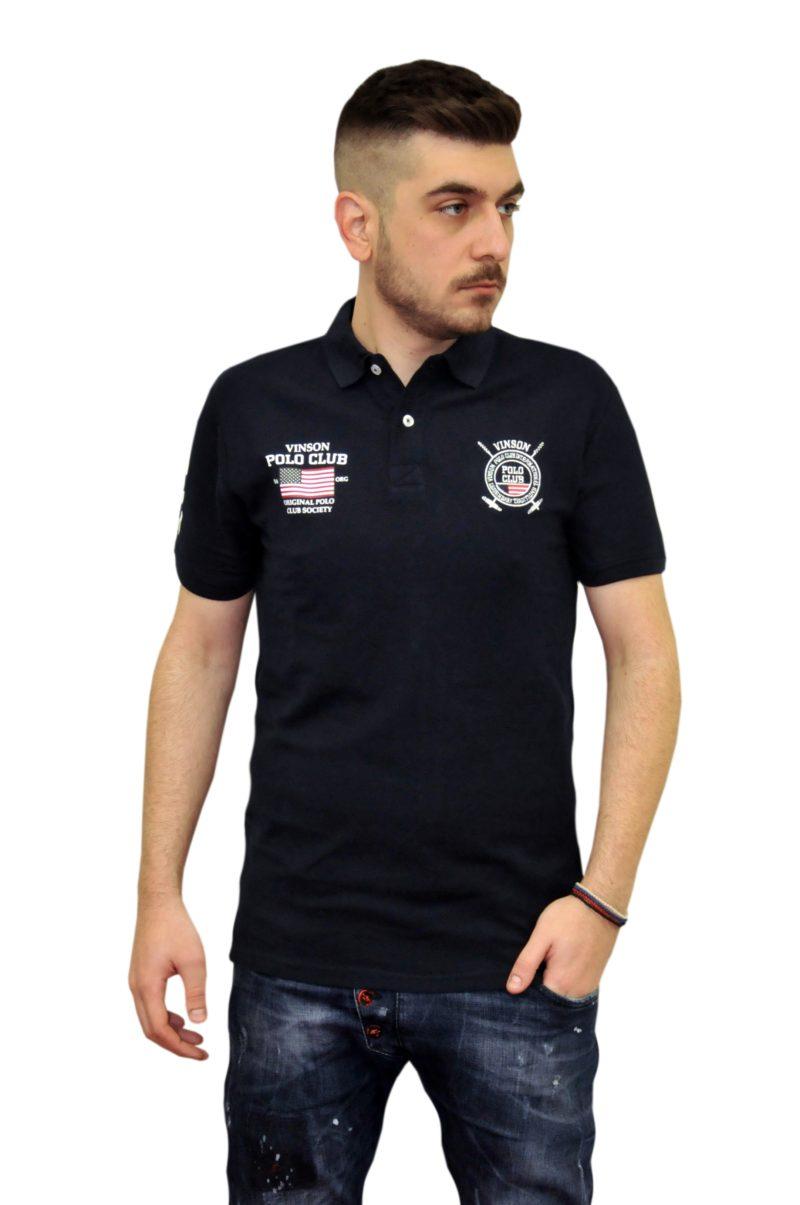 Μπλε σκούρο καλοκαιρινό βαμβακερό μπλουζάκι POLO CLUB VINSON