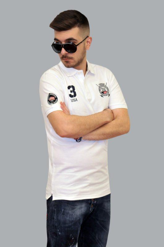 Λευκή καλοκαιρινή βαμβακερή μπλούζα POLO CLUB VINSON