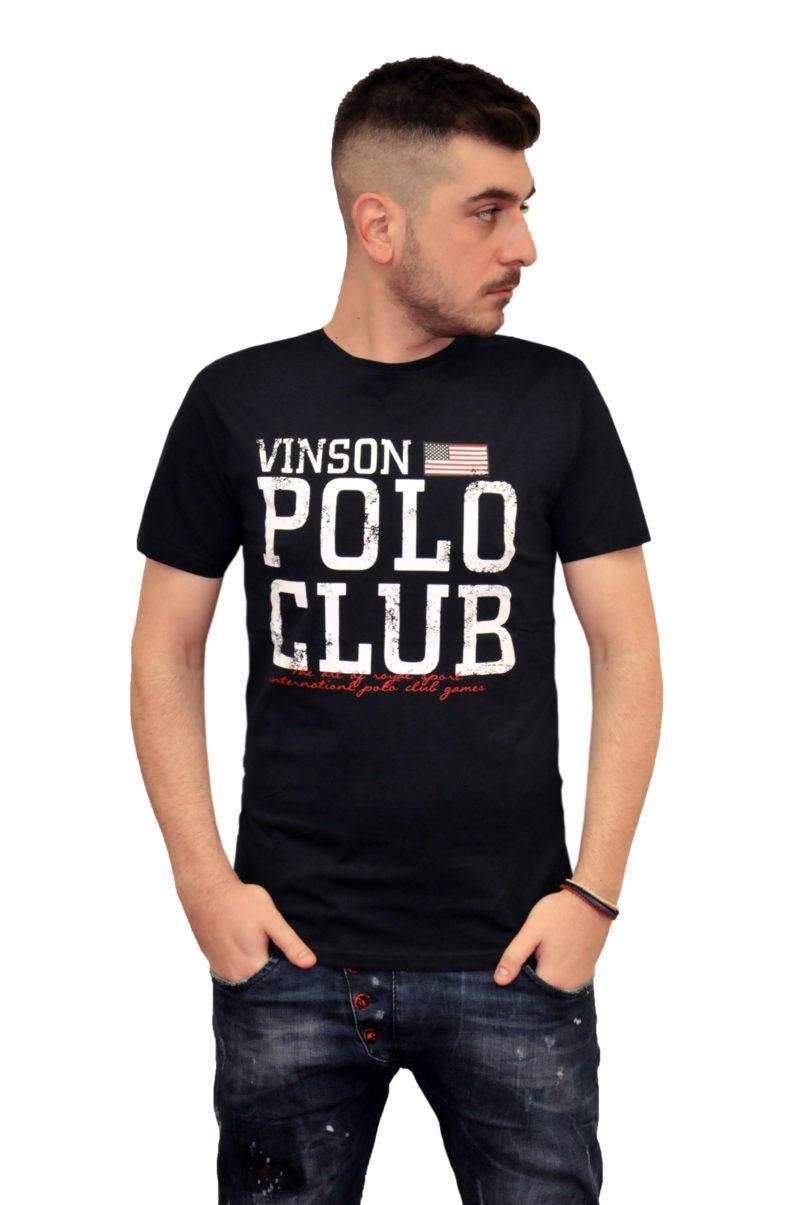 Μπλε σκούρο βαμβακερό καλοκαιρινό κοντομάνικο μπλουζάκι POLO CLUB VINSON