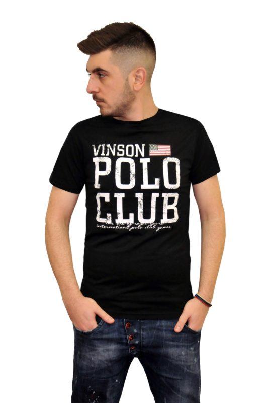 Μαύρο βαμβακερό καλοκαιρινό κοντομάνικο μπλουζάκι POLO CLUB VINSON