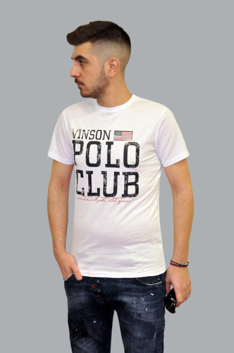 Λευκό βαμβακερό καλοκαιρινό κοντομάνικο μπλουζάκι POLO CLUB VINSON