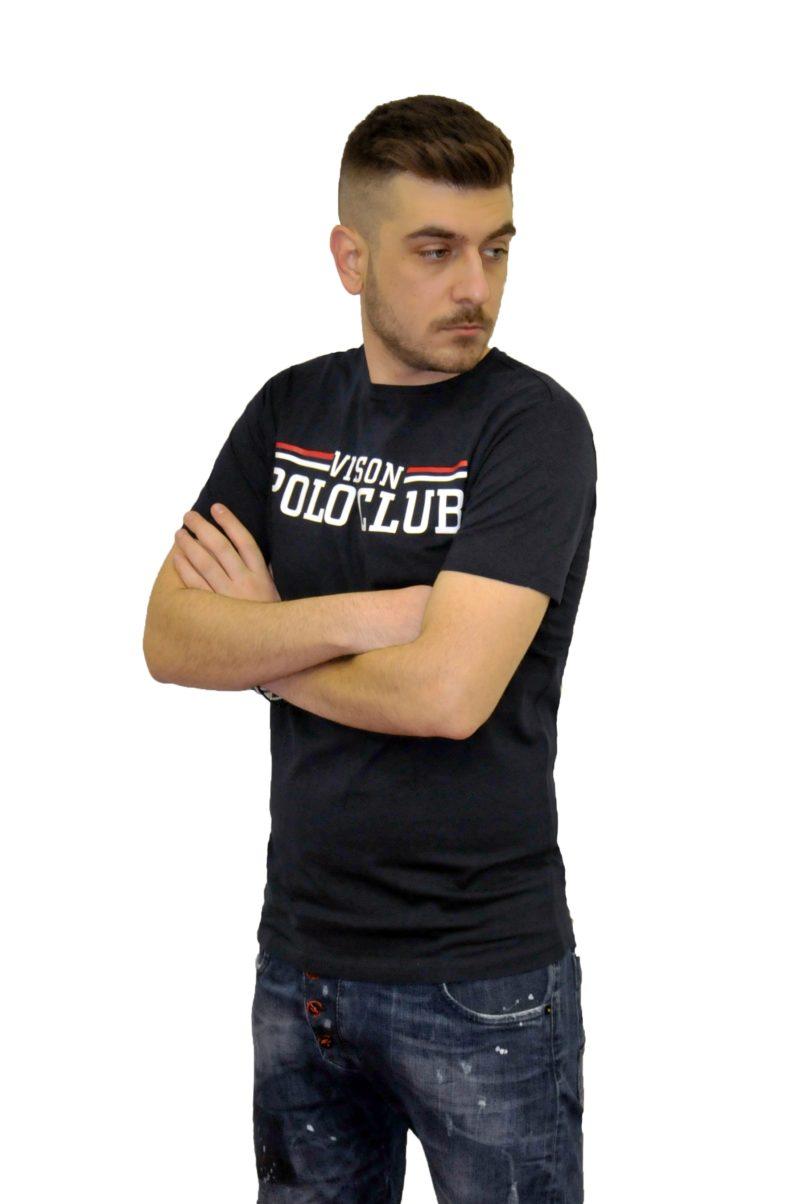 Μπλε σκούρο καλοκαιρινό βαμβακερό κοντομάνικο μπλουζάκι POLO CLUB VINSON