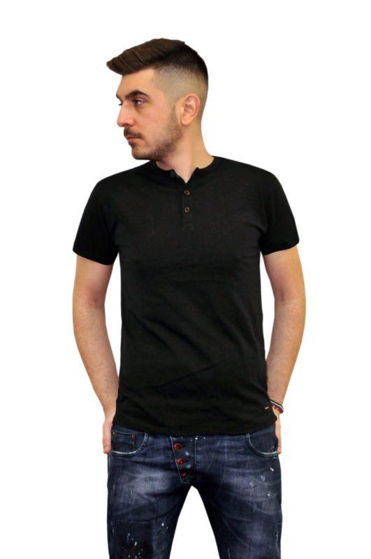 Μαύρο καλοκαιρινό βαμβακερό ΜΑΟ μπλουζάκι DOUBLE