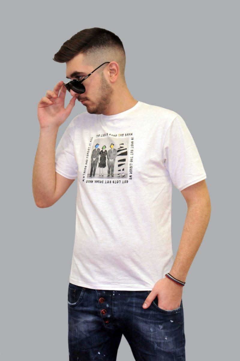 Λευκό βαμβακερό κοντομάνικο μπλουζάκι DOUBLE
