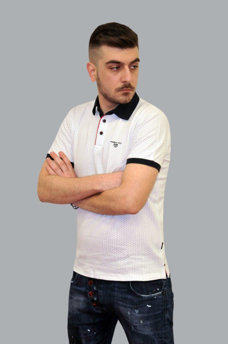 Λευκό πουά βαμβακερό κοντομάνικο μπλουζάκι DOUBLE
