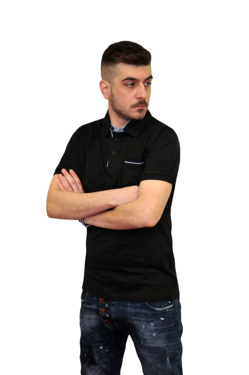 Μαύρο βαμβακερό κοντομάνικο μπλουζάκι DOUBLE