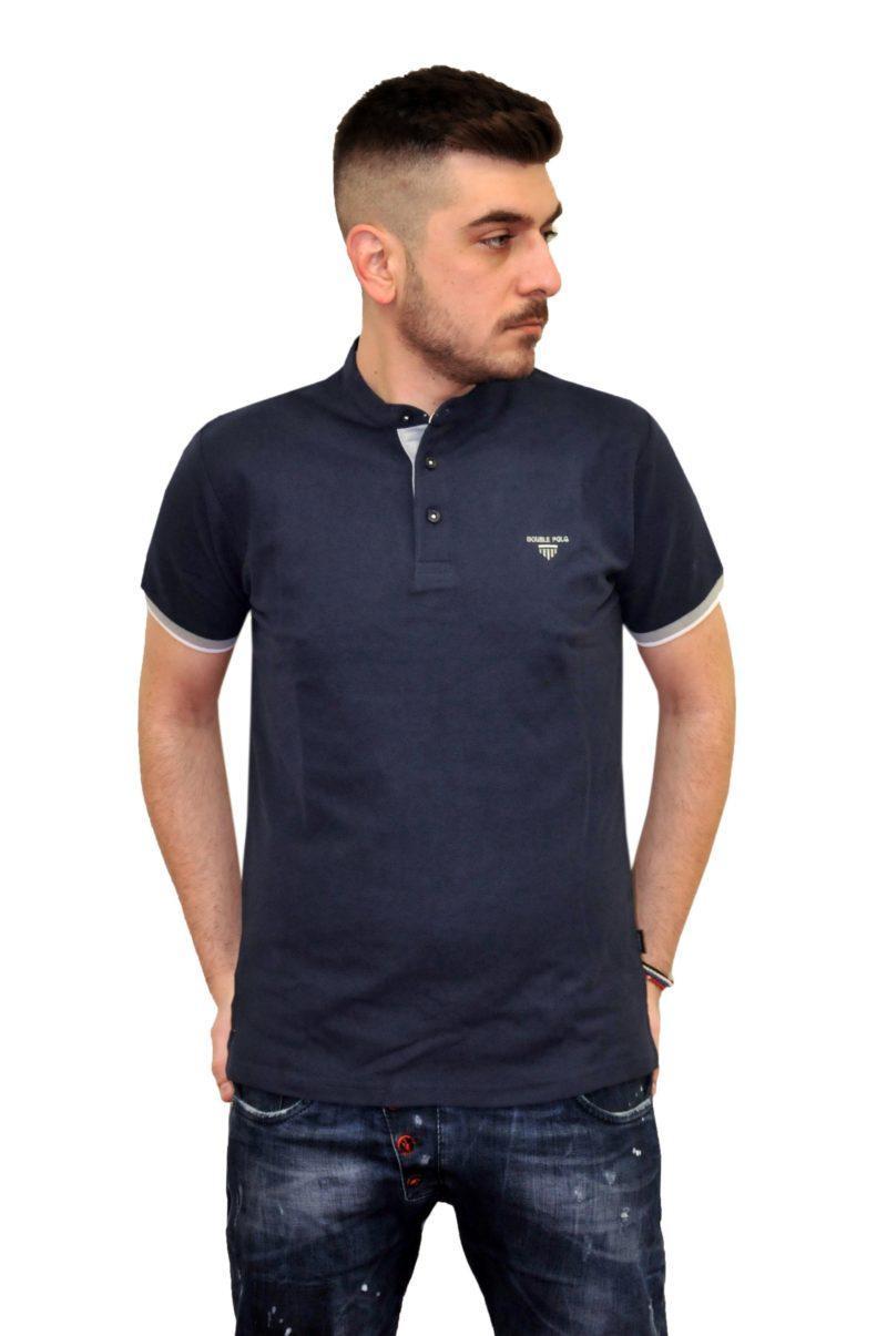 Μπλε σκούρο βαμβακερό κοντομάνικο μπλουζάκι DOUBLE