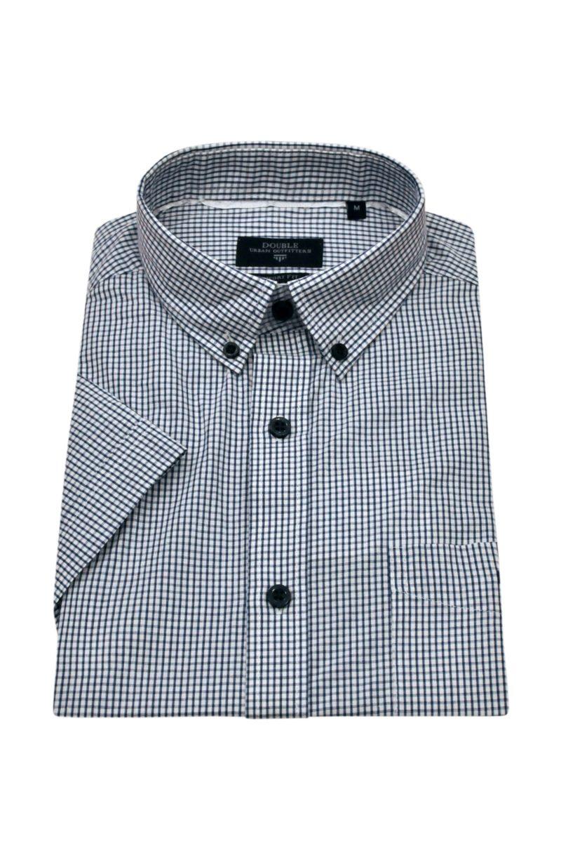 Ραφ καρό βαμβακερό κοντομάνικο πουκάμισο DOUBLE