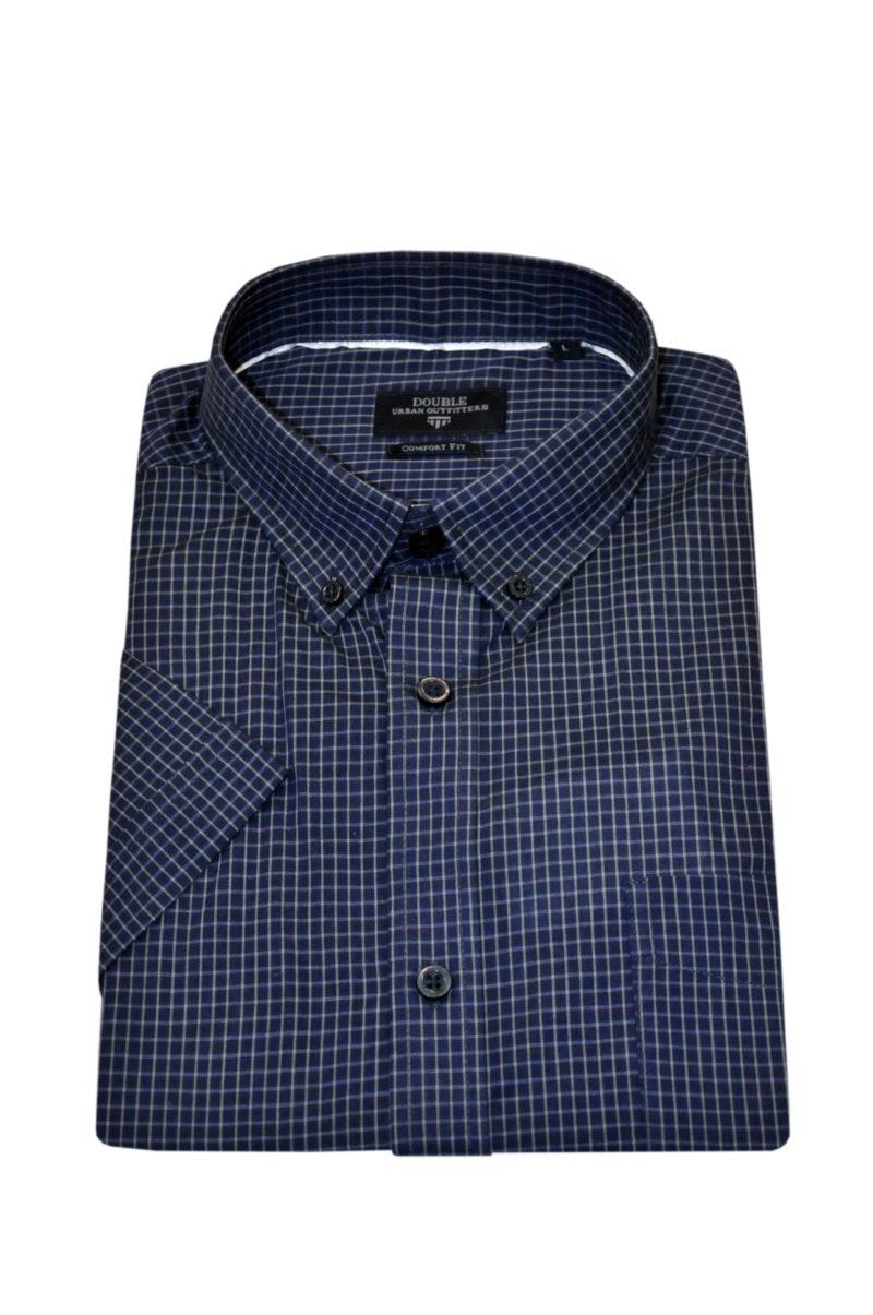 Μπλε καρό κοντομάνικο βαμβακερό πουκάμισο DOUBLE