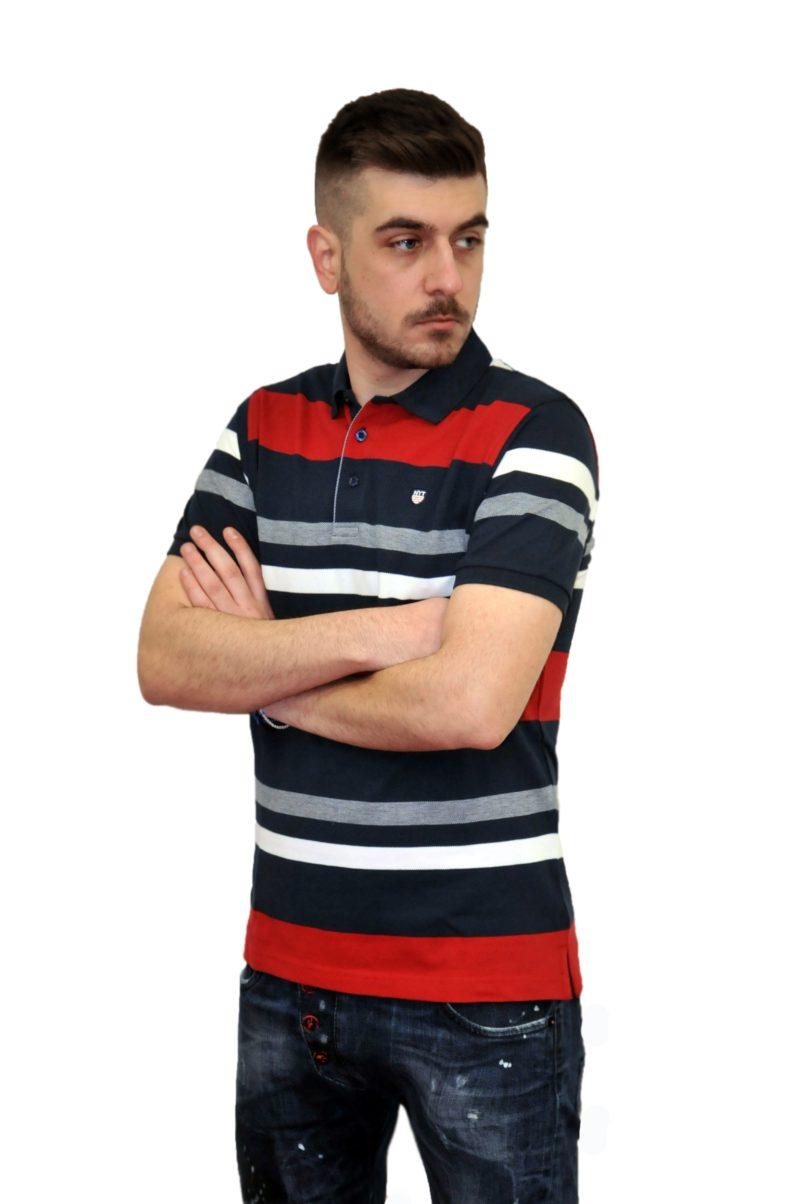 Κόκκινη ριγέ βαμβακερή καλοκαιρινή κοντομάνικη μπλούζα NEW YORK TAILORS