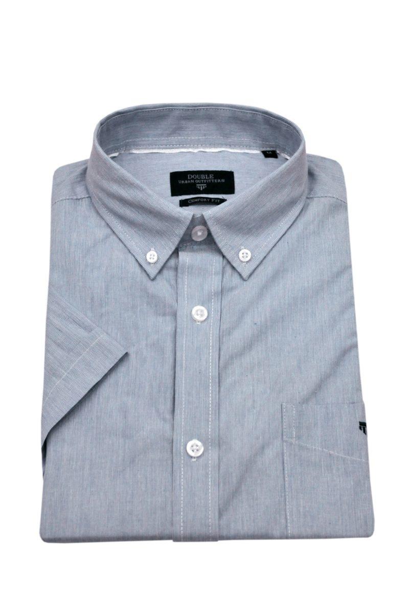 Μπλε ανοιχτό καρό βαμβακερό κοντομάνικο πουκάμισο DOUBLE