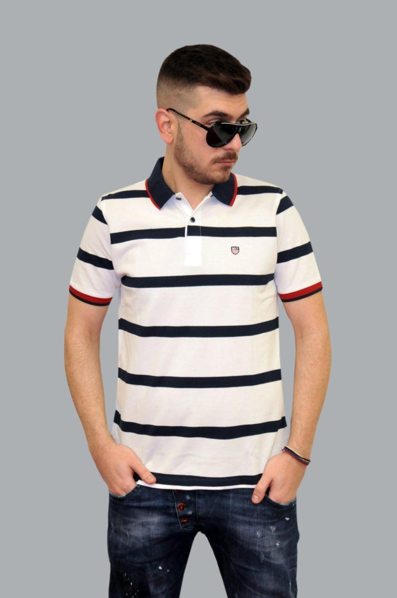 Λευκό ριγέ βαμβακερό καλοκαιρινό κοντομάνικο μπλουζάκι NEW YORK TAILORS
