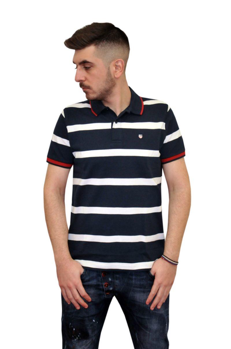 Μπλε σκούρο καλοκαιρινό βαμβακερό κοντομάνικο μπλουζάκι NEW YORK TAILORS