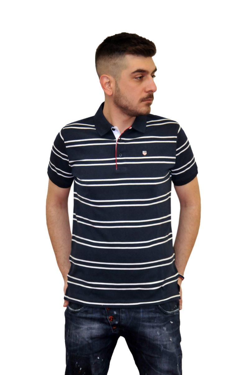 Μπλε σκούρο ριγέ βαμβακερό κοντομάνικο μπλουζάκι NEW YORK TAILORS