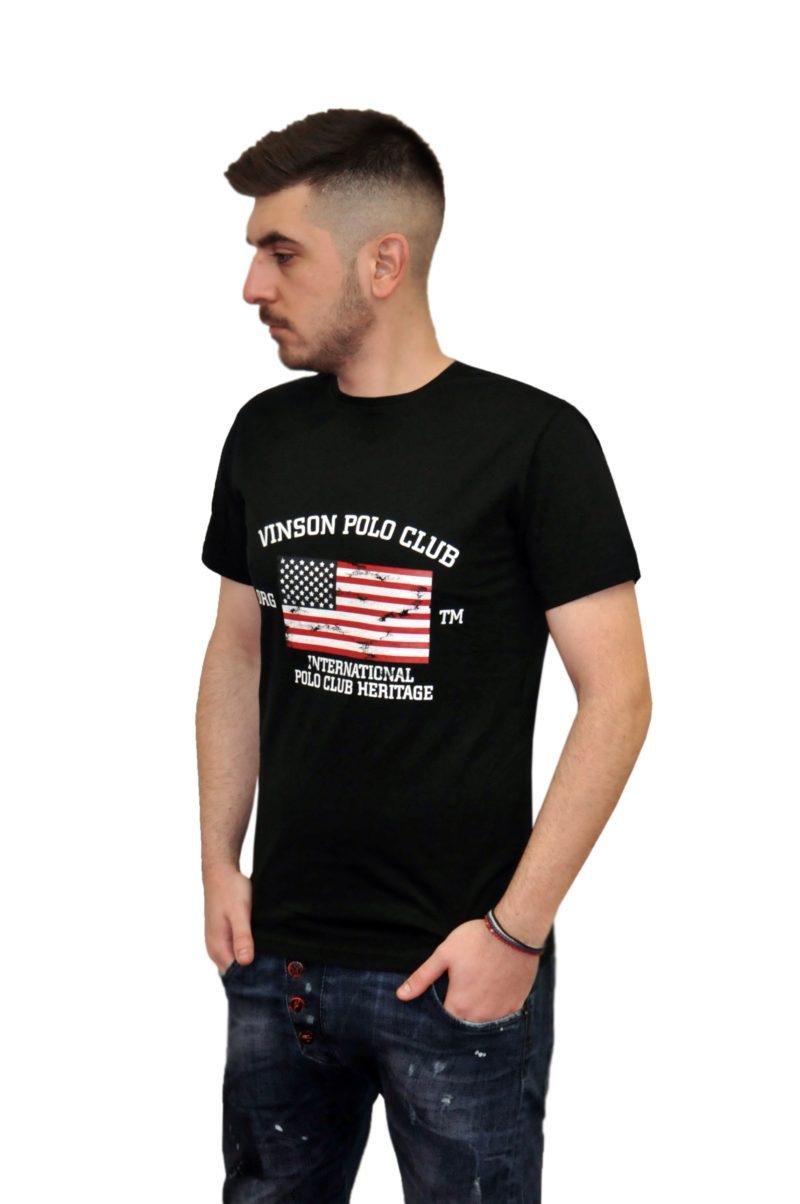 Μαύρο καλοκαιρινό βαμβακερό κοντομάνικο μπλουζάκι POLO CLUB VINSON