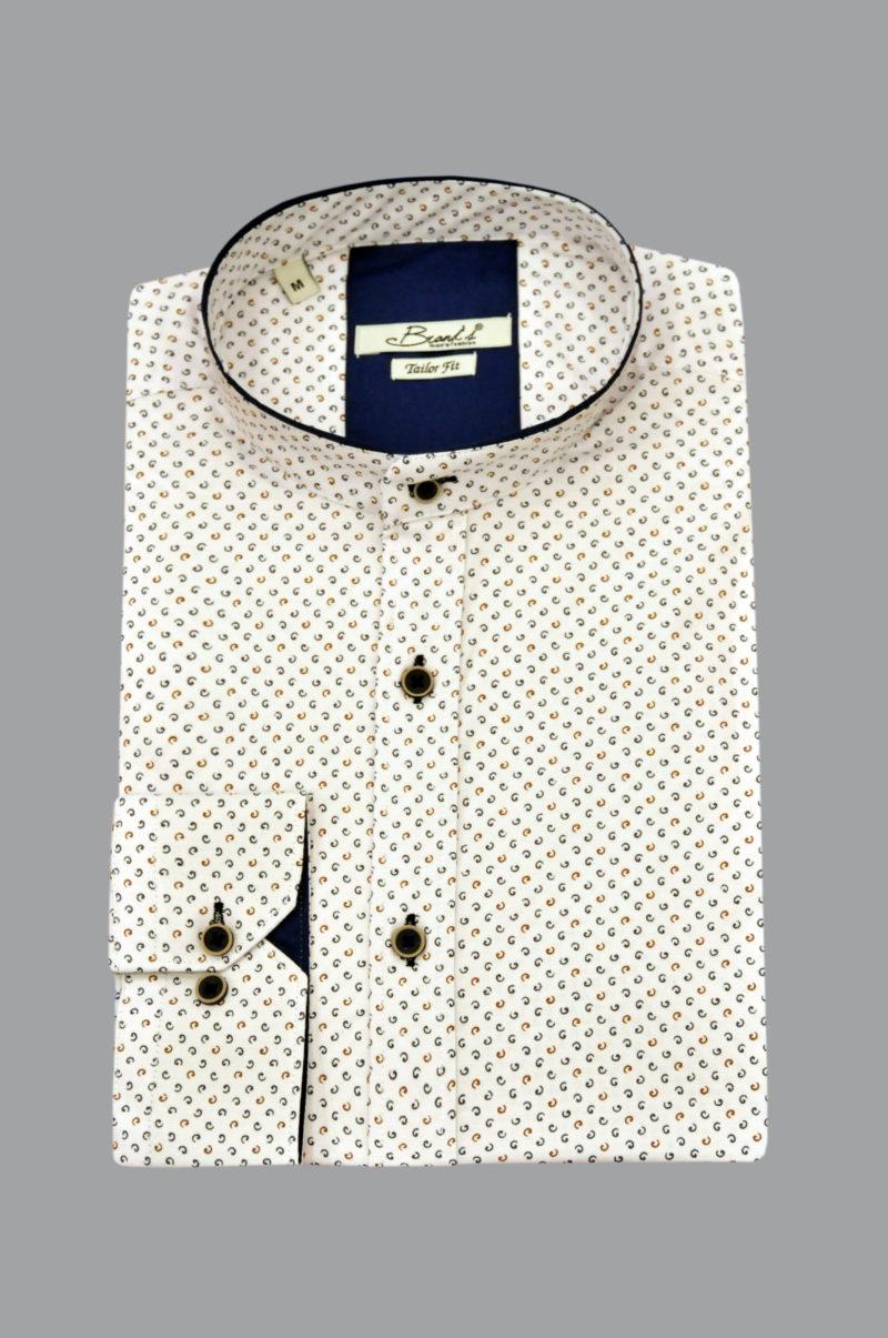 Λευκό εμπριμέ βαμβακερό μακρυμάνικο ΜΑΟ πουκάμισο BRAND'S