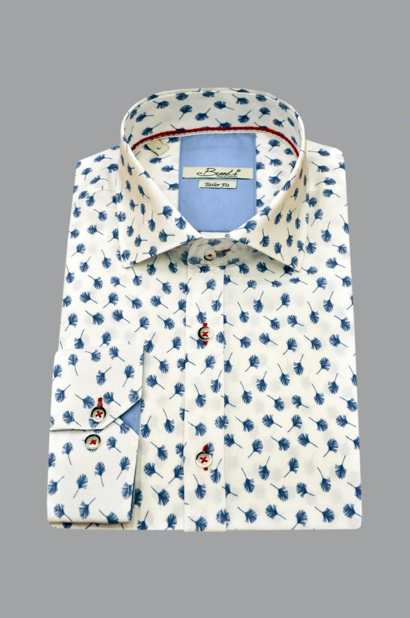 Λευκό εμπριμέ βαμβακερό μακρυμάνικο πουκάμισο BRAND'S