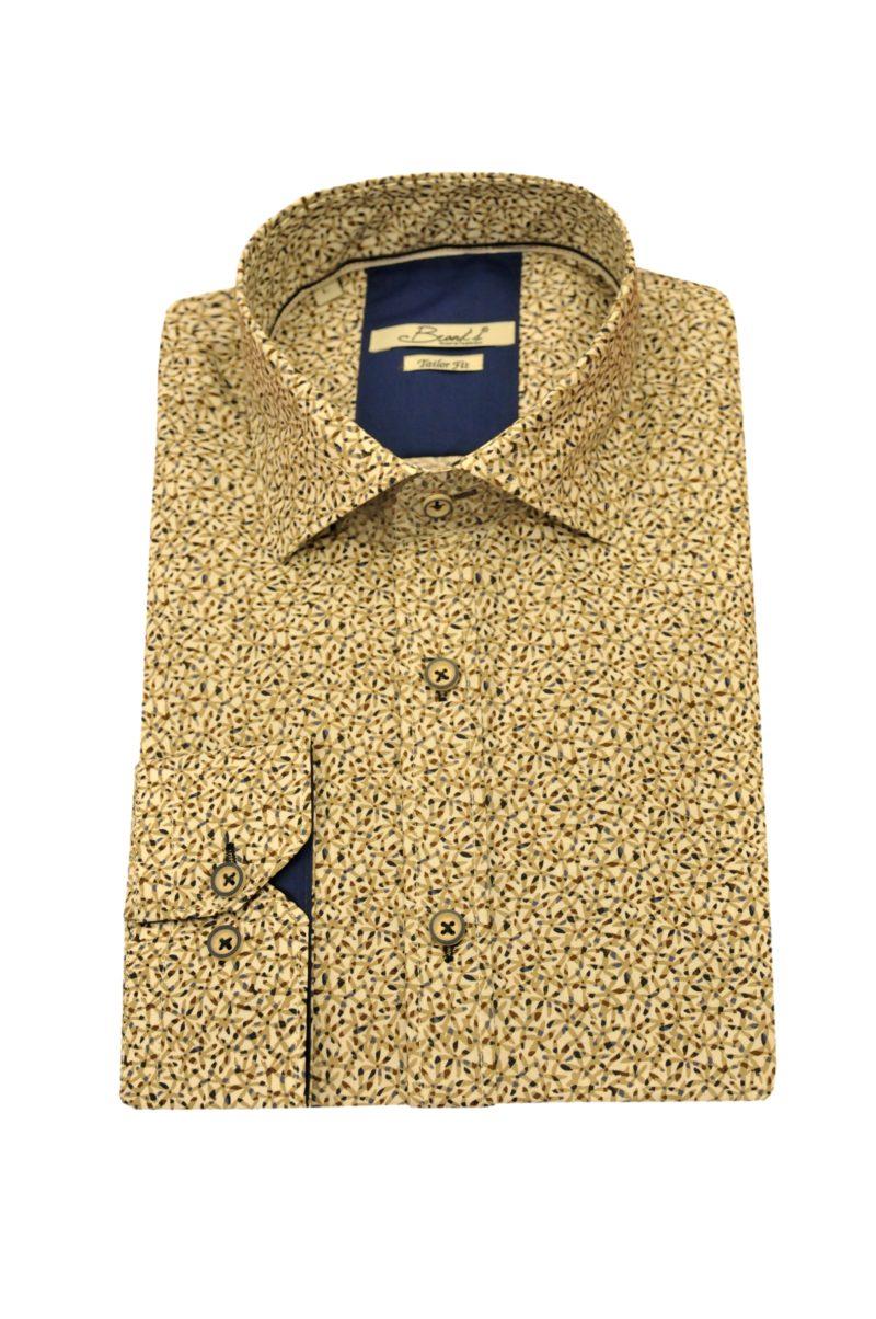 Κάμελ εμπριμέ βαμβακερό μακρυμάνικο πουκάμισο BRAND'S