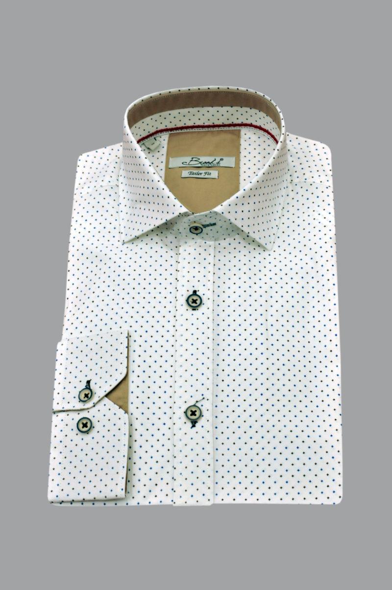 Λευκό εμπριμέ μακρυμάνικο πουκάμισο BRAND'S