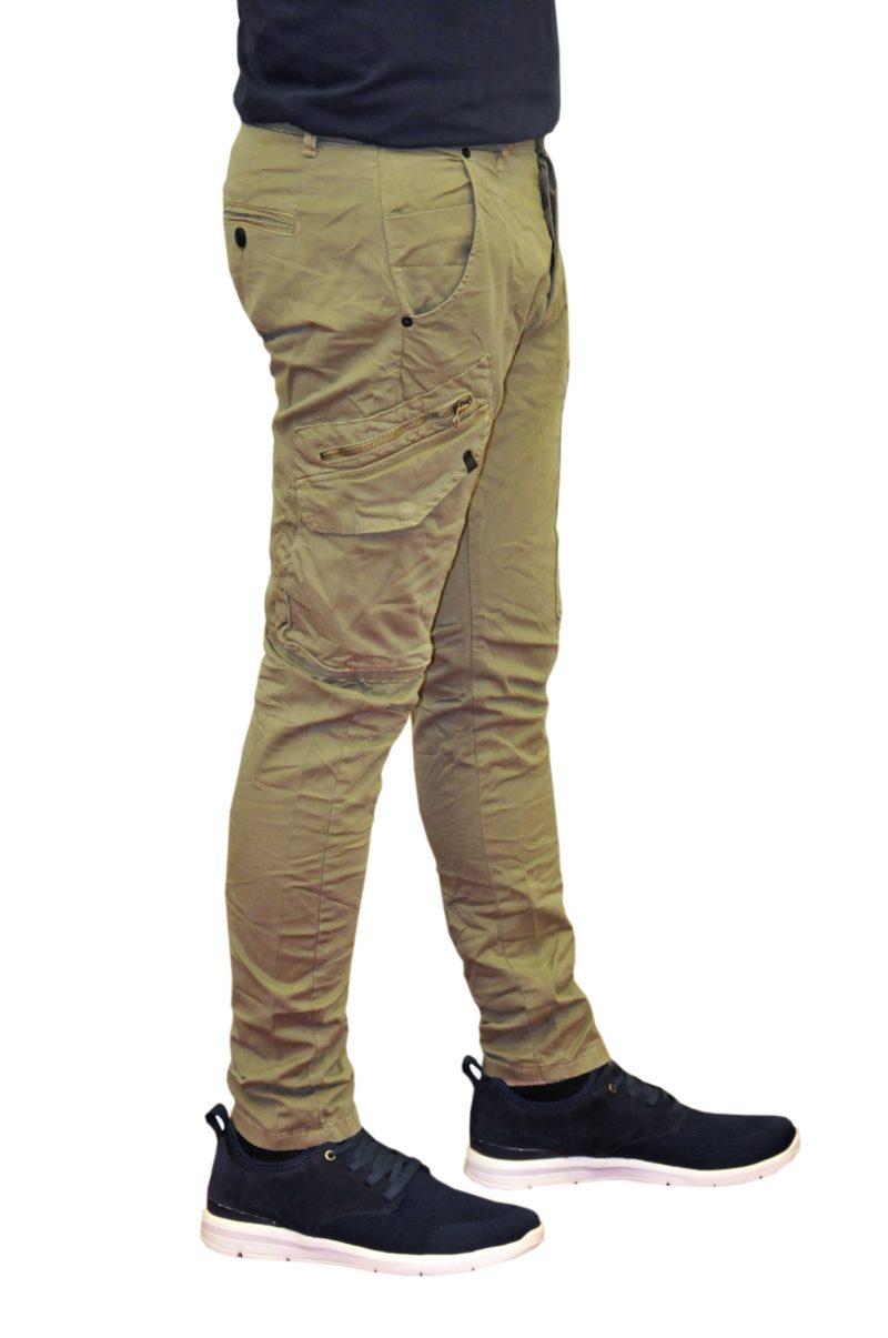 Χακί καλοκαιρινό βαμβακερό παντελόνι DAMAGED