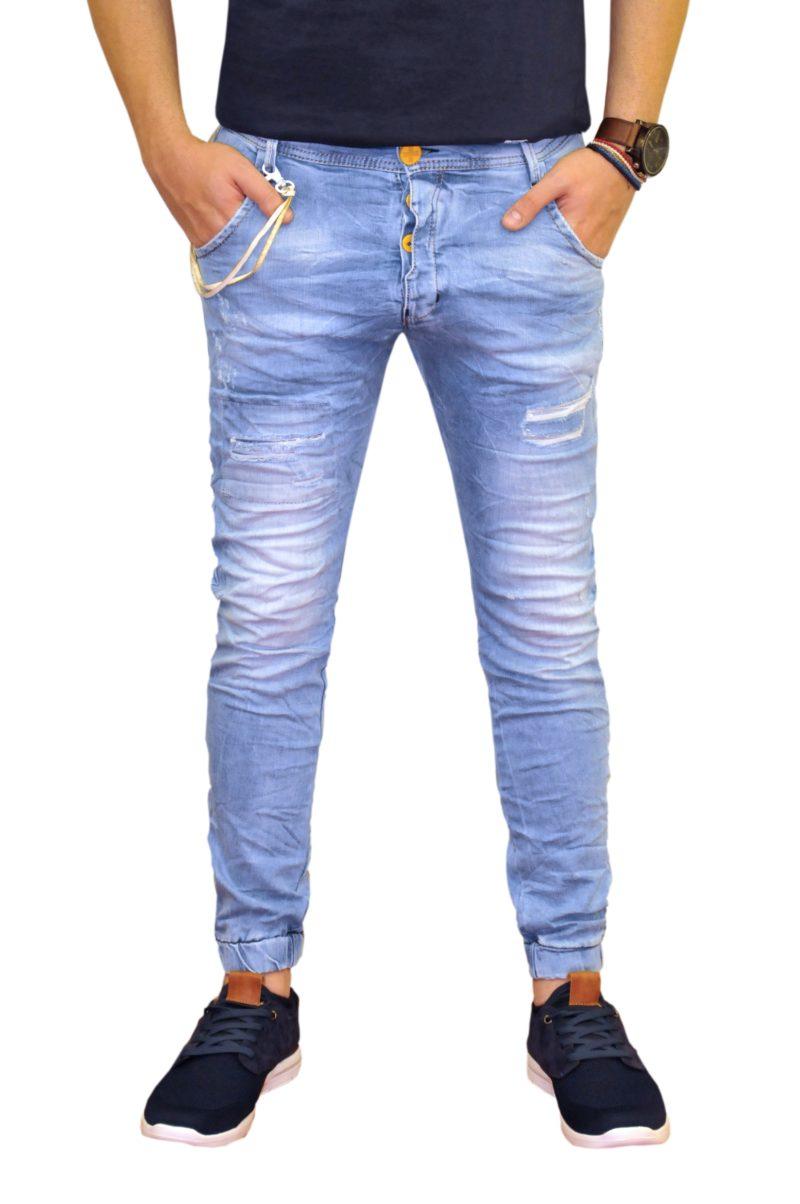 Μπλε ανοιχτό τζιν παντελόνι DAMAGED