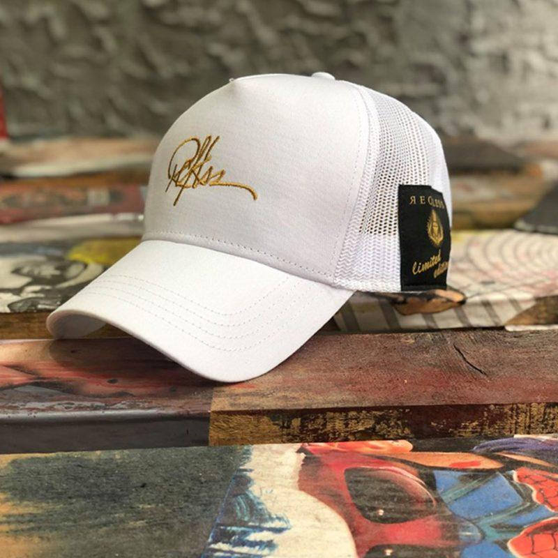 Λευκό-χρυσό καπέλο τζόκεϊ RECKLESS