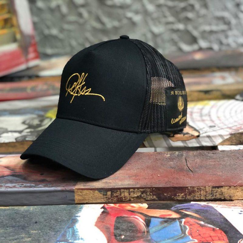 Μαύρο-κίτρινο καπέλο τζόκεϊ RECKLESS