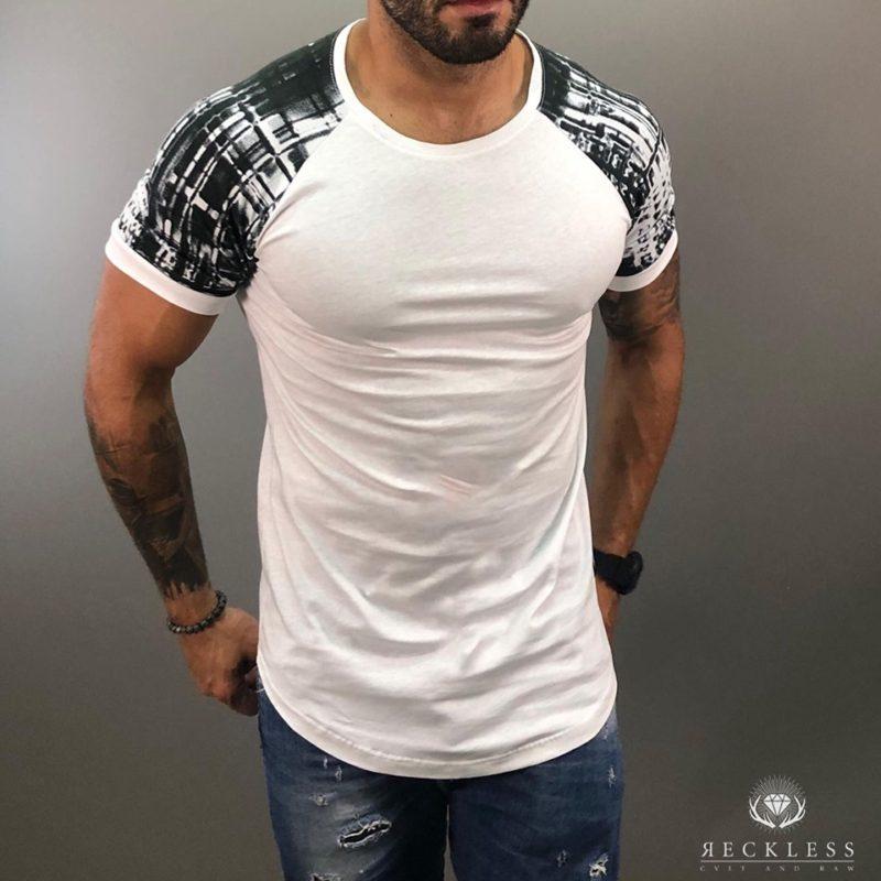 Λευκό βαμβακερό κοντομάνικο μπλουζάκι RECKLESS