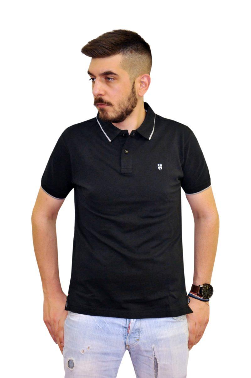 Μαύρο βαμβακερό κοντομάνικο μπλουζάκι LEONARDO UOMO
