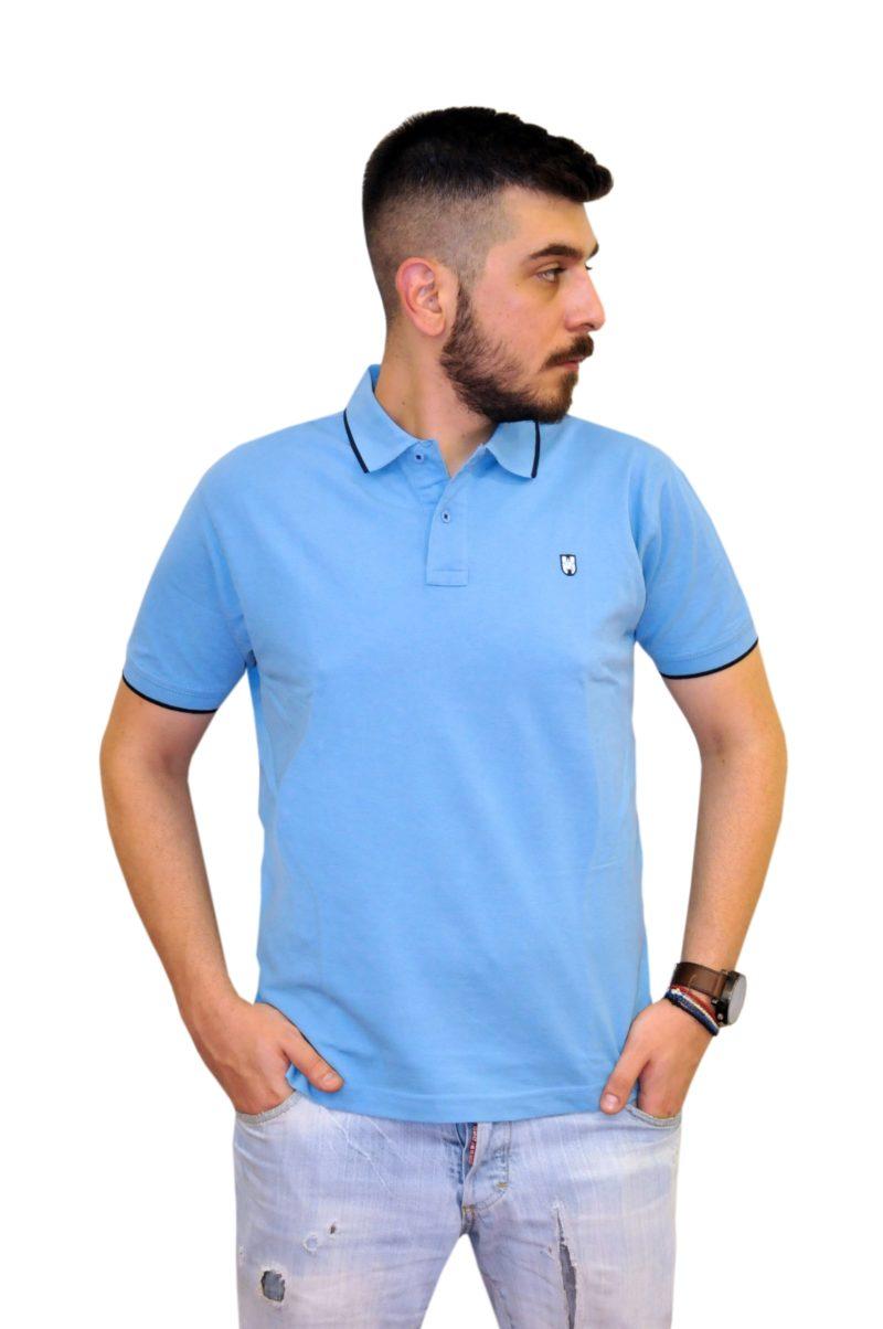 Μπλε βαμβακερό κοντομάνικο μπλουζάκι LEONARDO UOMO