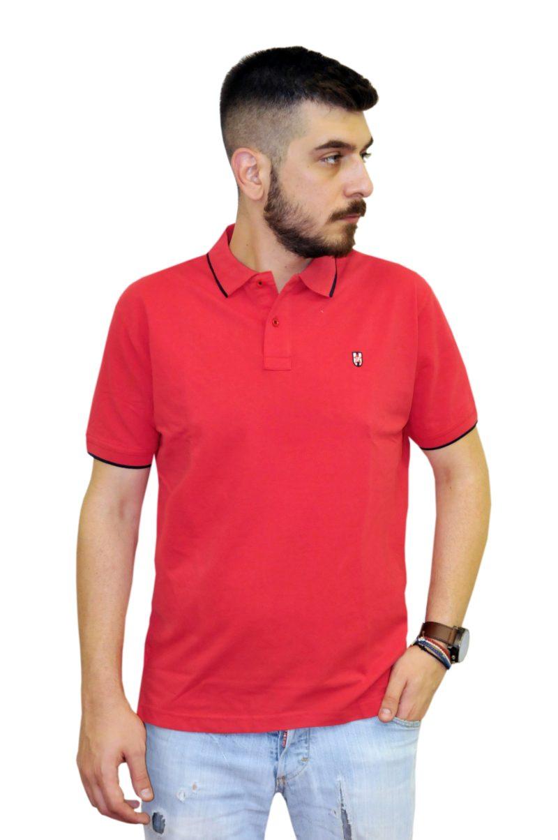 Κοραλί βαμβακερό κοντομάνικο μπλουζάκι LEONARDO UOMO
