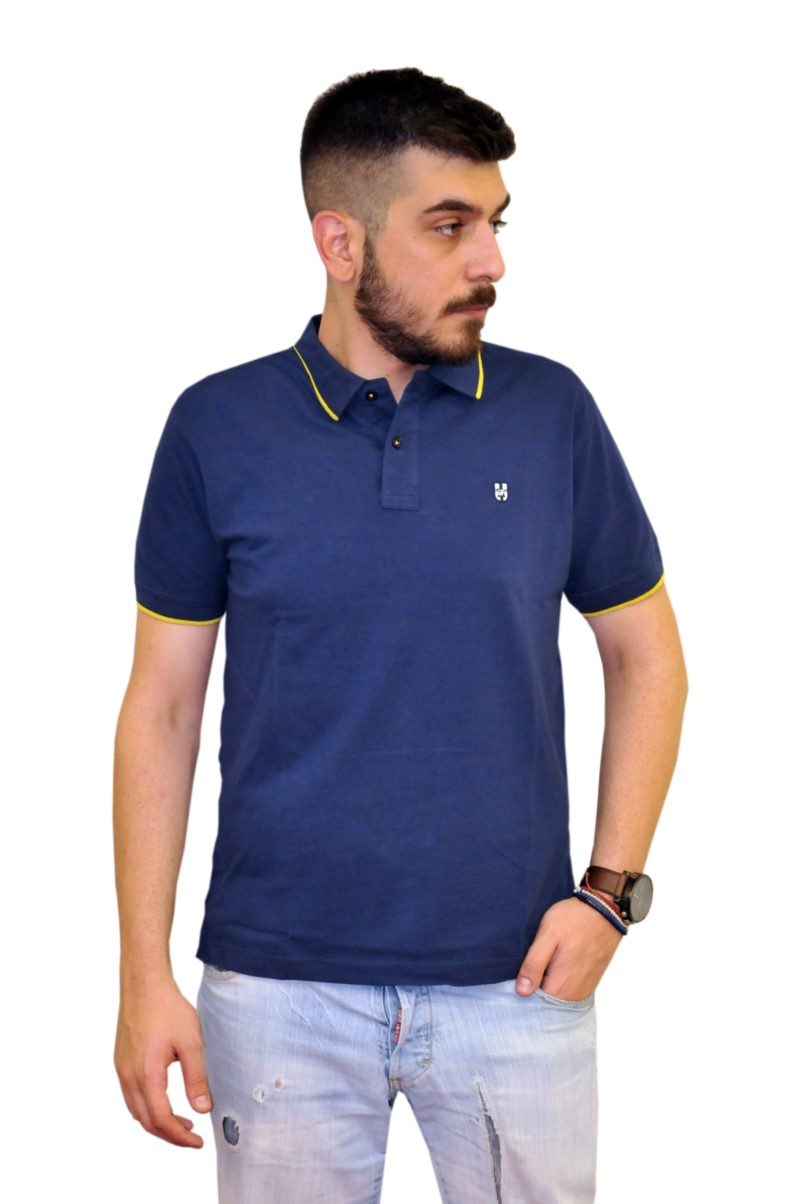 Μπλε σκούρο βαμβακερό κοντομάνικο μπλουζάκι LEONARDO UOMO