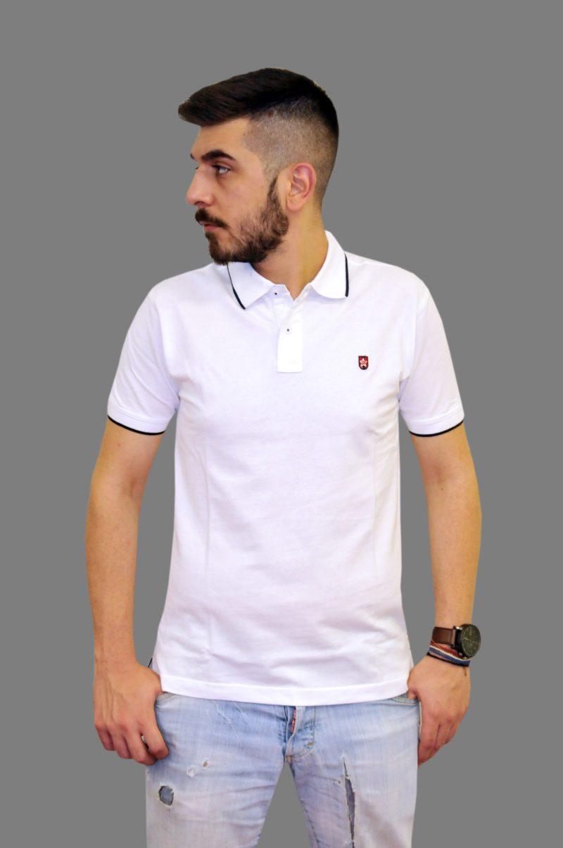 Λευκό βαμβακερό κοντομάνικο μπλουζάκι LEONARDO UOMO