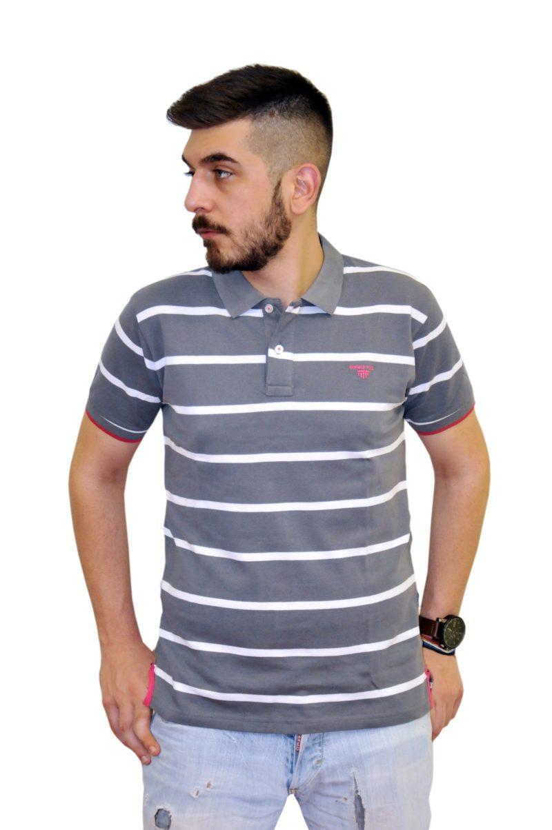 Γκρι ριγέ βαμβακερό κοντομάνικο μπλουζάκι DOUBLE
